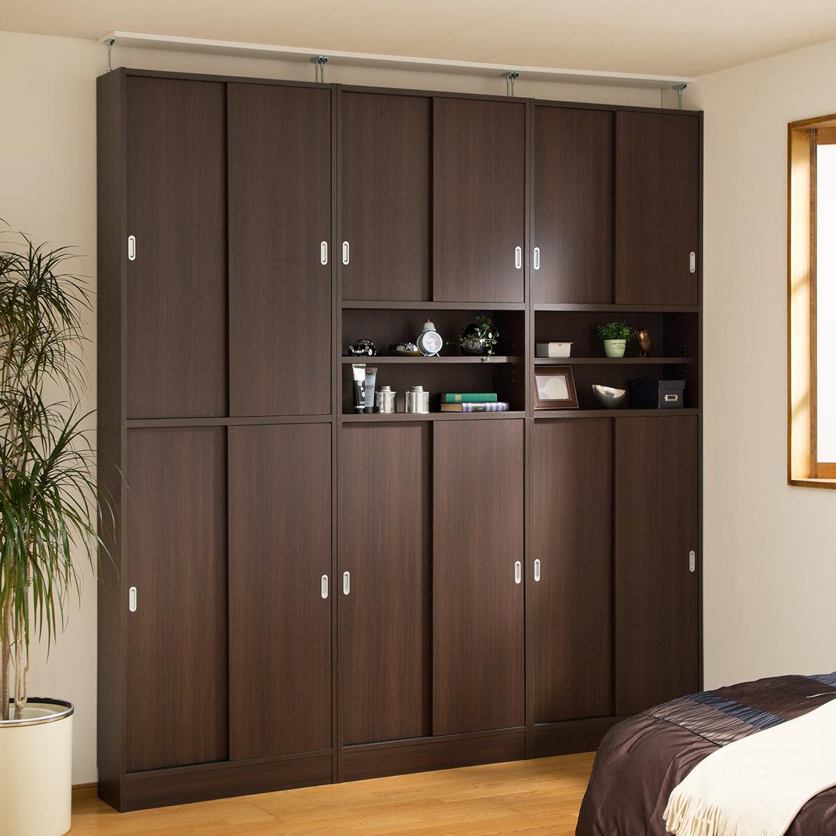 薄型壁面収納 天井突っ張り 本棚 飾り棚 引き戸 ピットフィット ptf